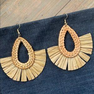 Raffia & Rattan Fan drop Earrings